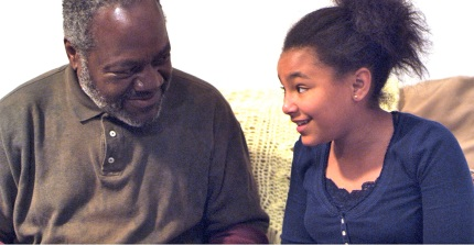 Frankie Faison (Grandpa Joe) and Kendra (Saoirse Scott)